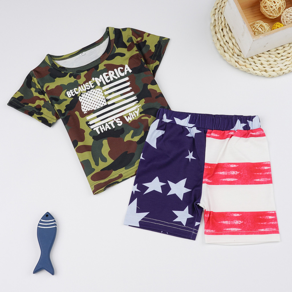 Green,80 JYC//2019 New.Choice Kids Baby Boy Flag Camouflage Letter Print T-Shirt Tops Shorts 4th of July Sets