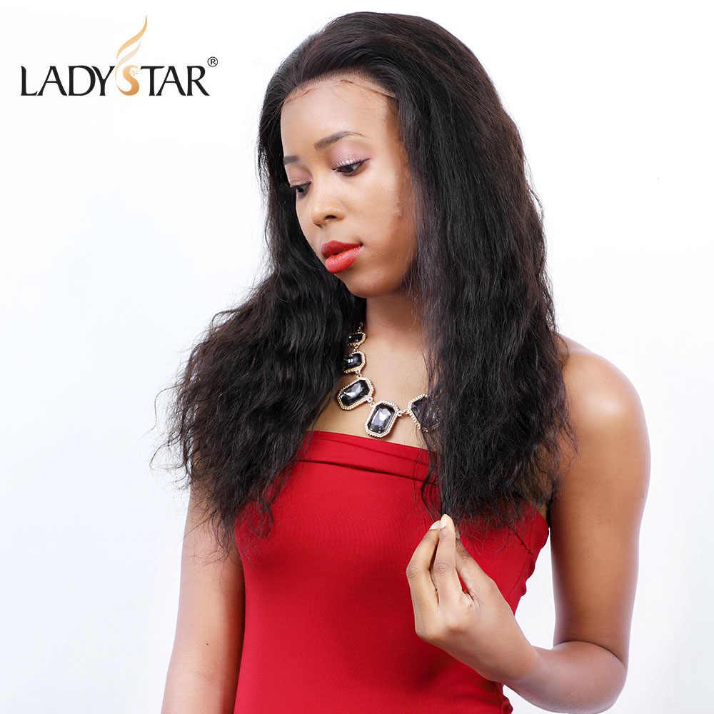 LADYSTAR 360 peluca Frontal de encaje Pre desplumado con pelo de bebé brasileño 150 densidad cuerpo onda pelucas de mujer cabello humano para mujeres cabello Remy