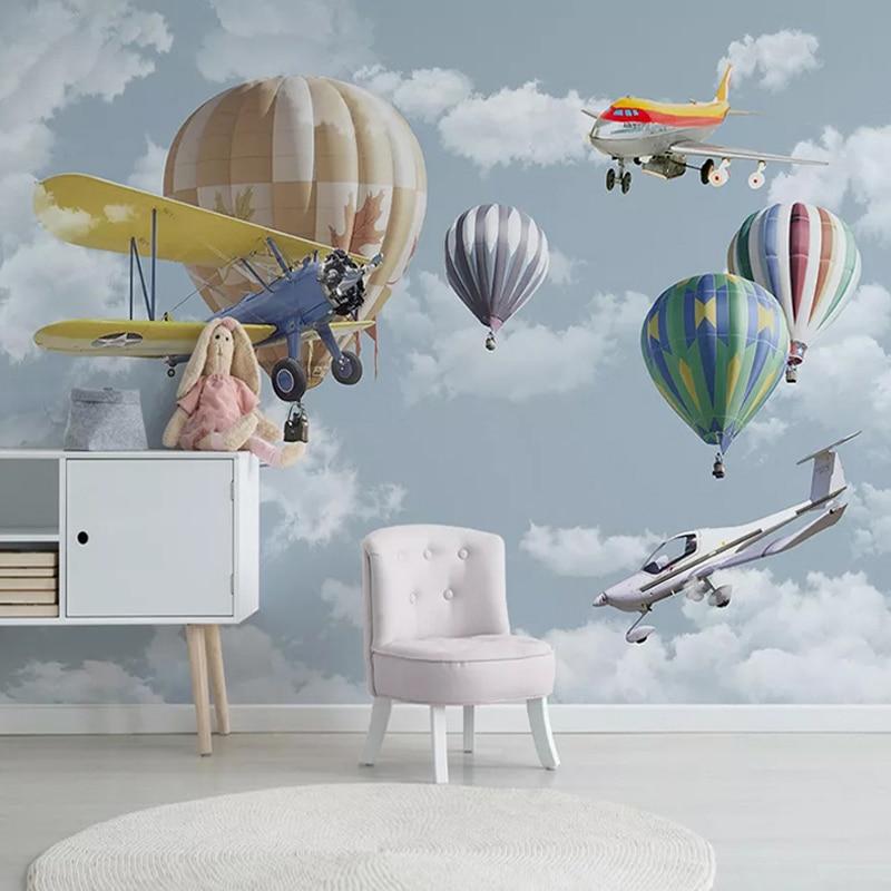 Custom 3D Photo Wallpaper Cartoon Airplane Balloon Children Room Bedroom Kindergarten Wall Poster Decor Mural Papel De Parede