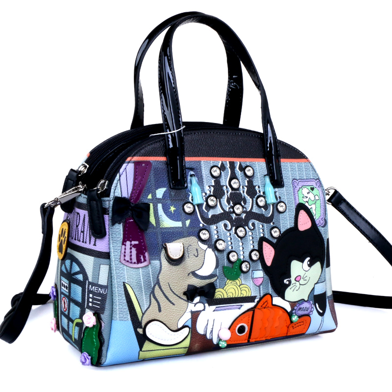 Women Bags Leather Patchwork Embroidery Handbag Girl Shoulder Bags Crossbody Bag Tote Braccialini Style Cartoon Cat and Dog