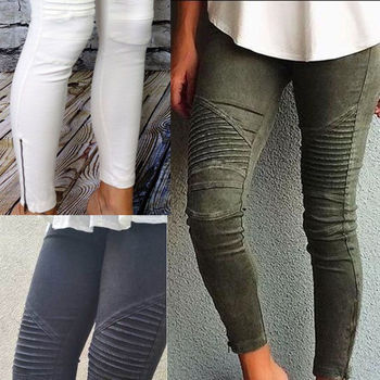 slim fit skinny jeans women pleated stretchy denim jeans