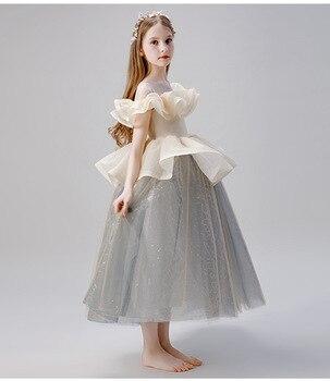 Kids Children Host Model Catwalk Costume Dress Piano Performance Clothes Girls Princess  Flower Pageant Dresses Girls Ball Gown