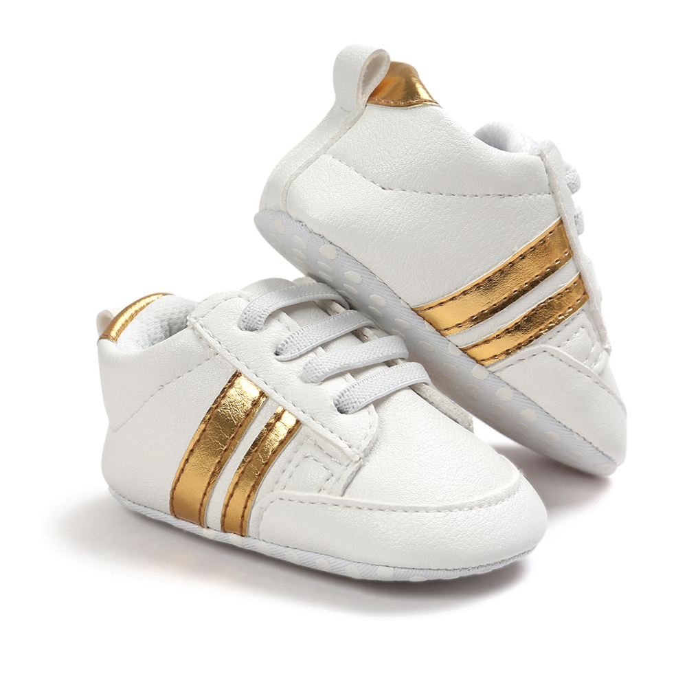 2020 Baby Shoes Newborn Boys Girls Two Striped First Walkers Kids Toddlers Lace Up PU Leather Soft Soles Sneakers 0-18 Months 3