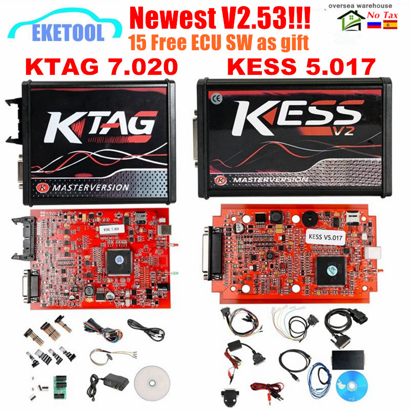 KESS V2 53 V5 017 V2 KTAG V7 020 SW2 25 EU Version New 4LED Red PCB ECU Programming Tool KESS 5 017 K TAG 7 020 Unlimited Token
