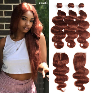 Brown Auburn Human Hair Bundles With Closure 4x4 KEMY HAIR 3 PCS Brazilian Body Wave Human Hair Weave Bundles Non-Remy Hair(China)