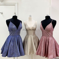 V neck Sparkle Homecoming Dress 2020 Size 0 Custom made Short Graduation Dresses Spaghetti Strap Mini Gown Vestido De Formatura