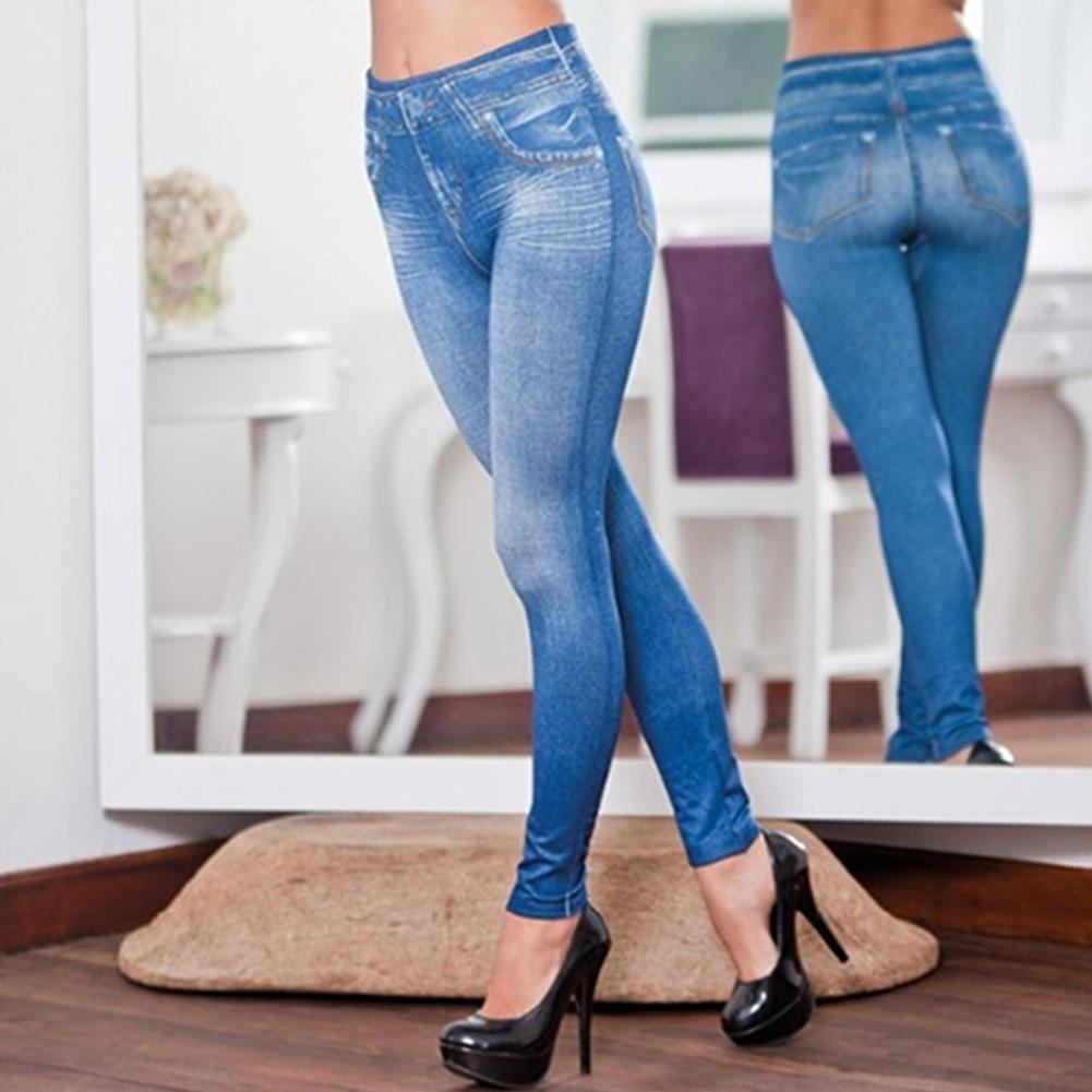 Women Legs Shaping Leggings Fake Jeans Pants Pull-on Skinny Elastic Trousers K2