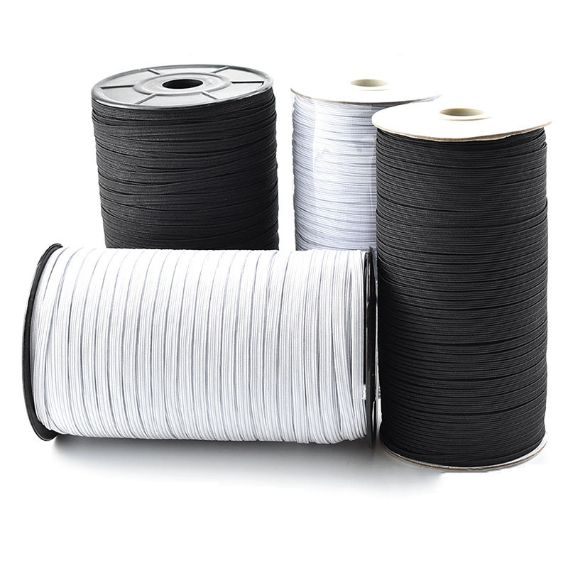 10M 3mm 6mm Rubber Band Masks Elastic 8/10/12MM White Black High Elastic Bands Flat Waist Band Sewing Garment Rope For DIY Mask