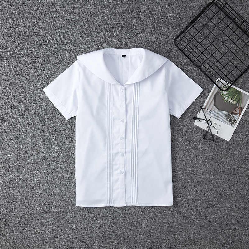 Branco de algodão japonês médio estudante escola vestido para meninas jk uniformes marinheiros terno manga curta camisa branca das mulheres topos