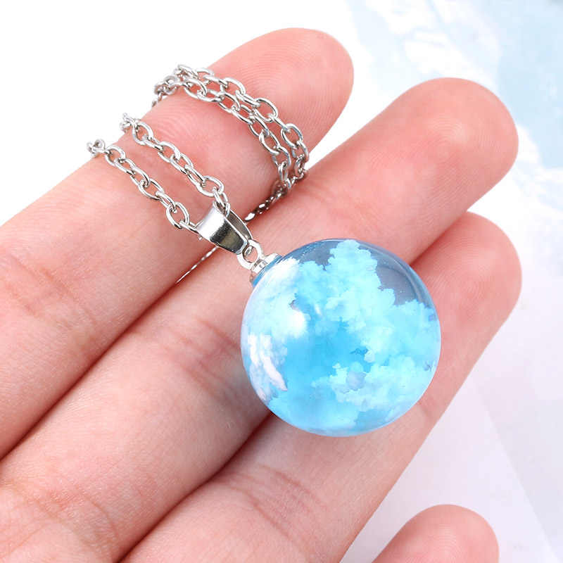 Natural Blue Sky White Cloud Transparent Ball Pendant Necklace High Quality Resin Link Chain Necklaces for Women Choker Jewelry