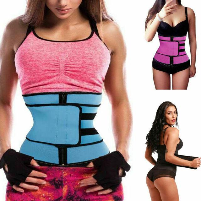Women Sauna Thermo Shaper Sweat Waist Trainer Belt Slimming Vest Corset Black 2