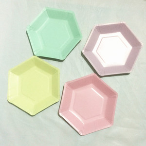 Image 5 - 60pcs Pastel Lilac Hexagon Party Paper Plates Baby Shower Birthday Wedding Party Supplies Disposable Tableware 6 Colors