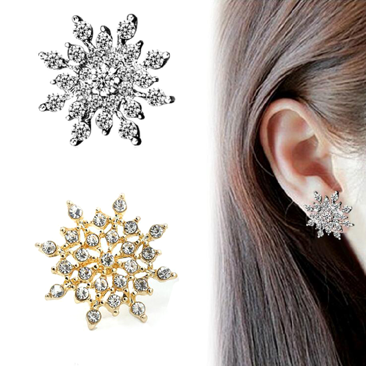 New Fashion Crystal Earring New Earring Cute Snowflake Earrings For Women Flower Luxury Earrings Jewelry Christmas Gift