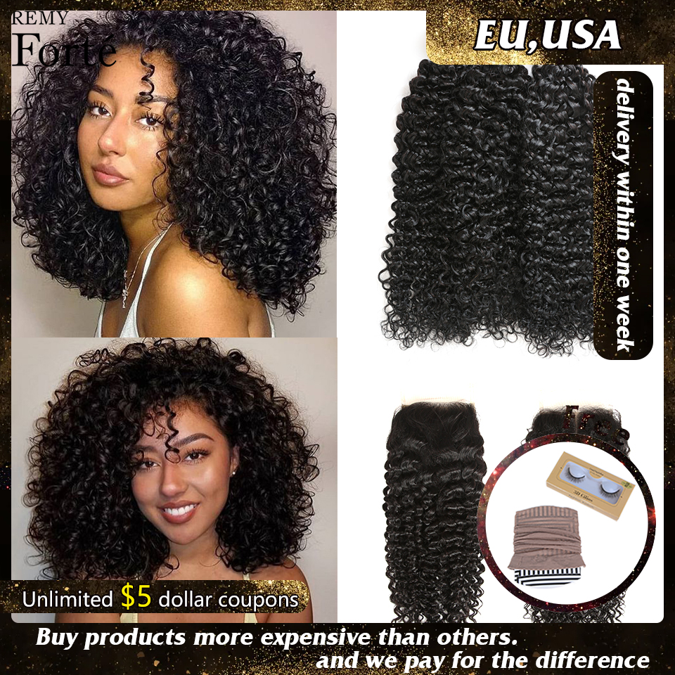 Remy Forte Curly Bundles With Closure 10-30 Inch Remy Brazilian Hair Weave Bundles 3/4 Kinky Curly Bundles With Closure Fast USA