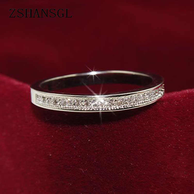 Anillos clásicos de Plata de Ley 925 de alta calidad, circulo claro, deslumbrante CZ, anillos geométricos apilables para mujer, regalo de joyería de boda