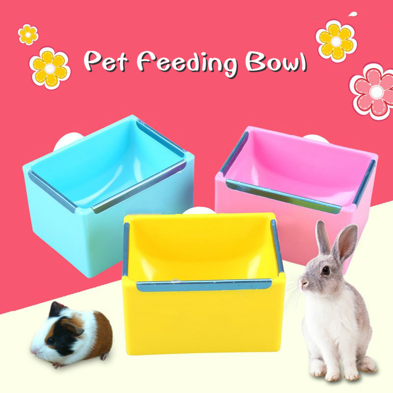 Pet Feeding Bowl Rectangle Plastic Fix Cage Food Water Feeder Bowl For Rabbits Cats Bird Pet Food Bowls Dropshipping