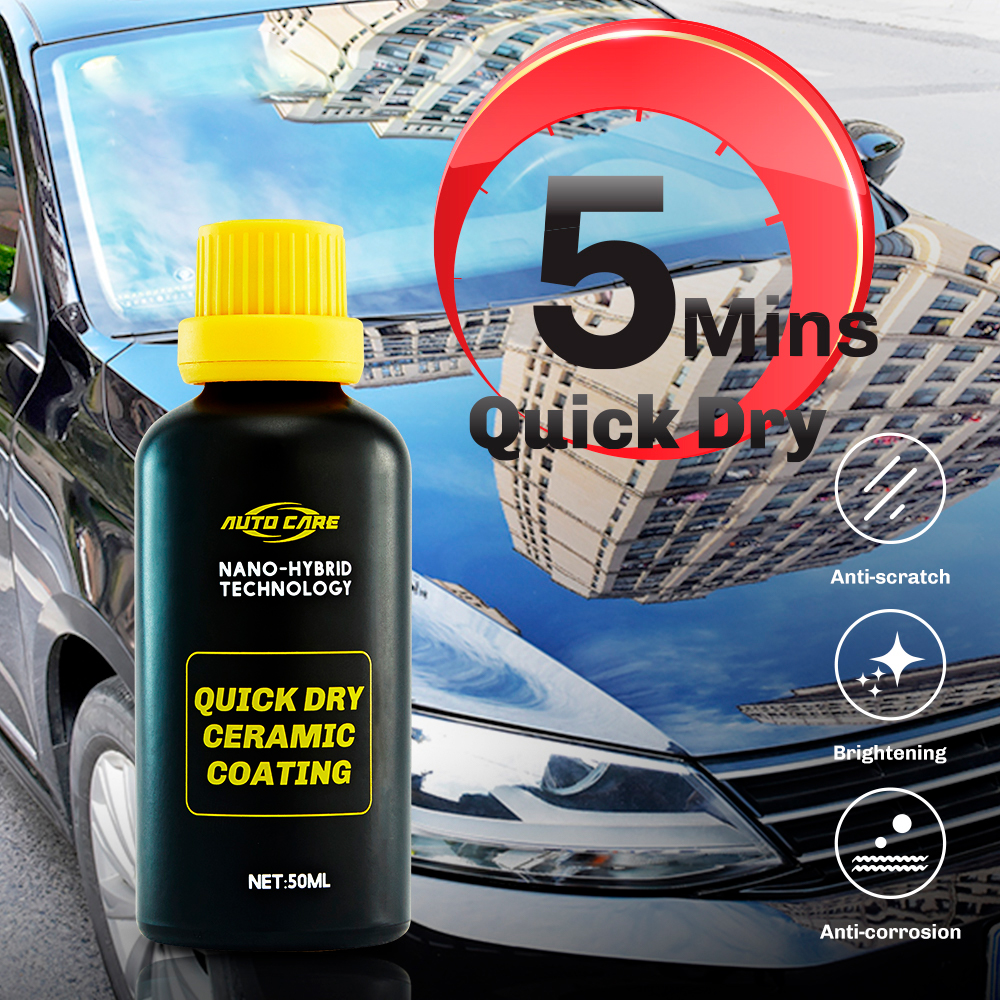 Quick Dry Nano Ceramic Car Coating 5 Mins Paint Care Hydrophobic Coating Waterproof High Gloss Shine Anti Scratch Polish Wax