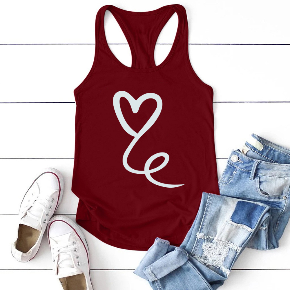 Heart Print Tank Top Women Sleeveless Summer Vest Crew Neck Graphic Tank Tops Women Loose Cotton Female Camiseta Tirantes Mujer