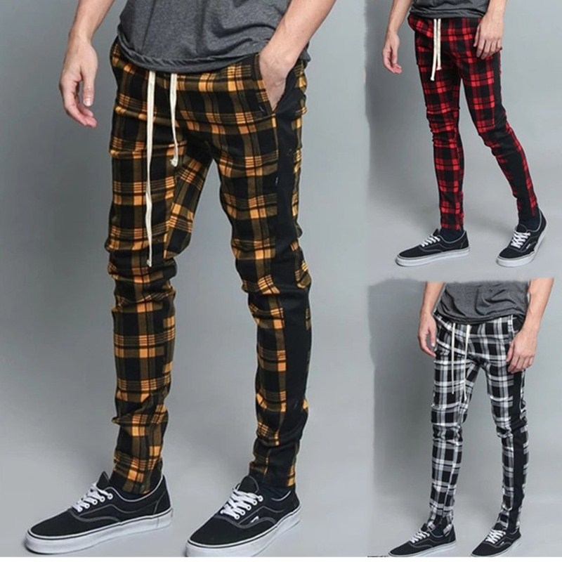 2019 sexy high wasit spring summer fashion pocket Men's Slim Fit Plaid Straight Leg Trousers Casual Pencil Jogger pants printing