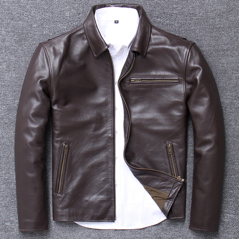 2020 Season Lapel Head Layer Pure Cowhide Leisure Time Leather Clothing Men's Loose Business Affairs Palm Real Genuine