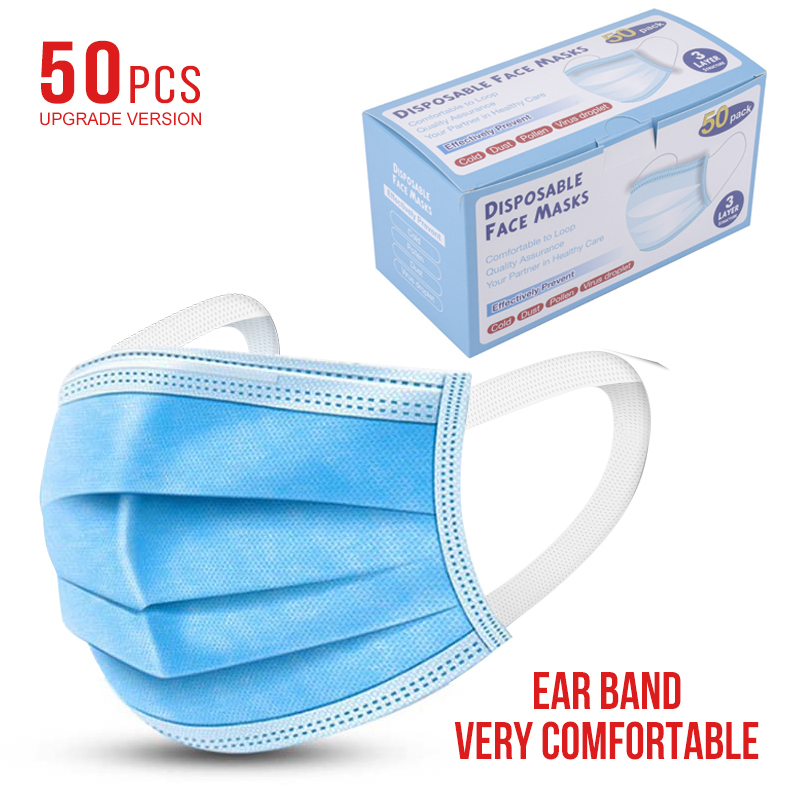 50 Pcs 3 Layers Thickened Disposable Mouth Protection Mouth Covers Non-Woven Anti-Dust Face Covers Protection Products