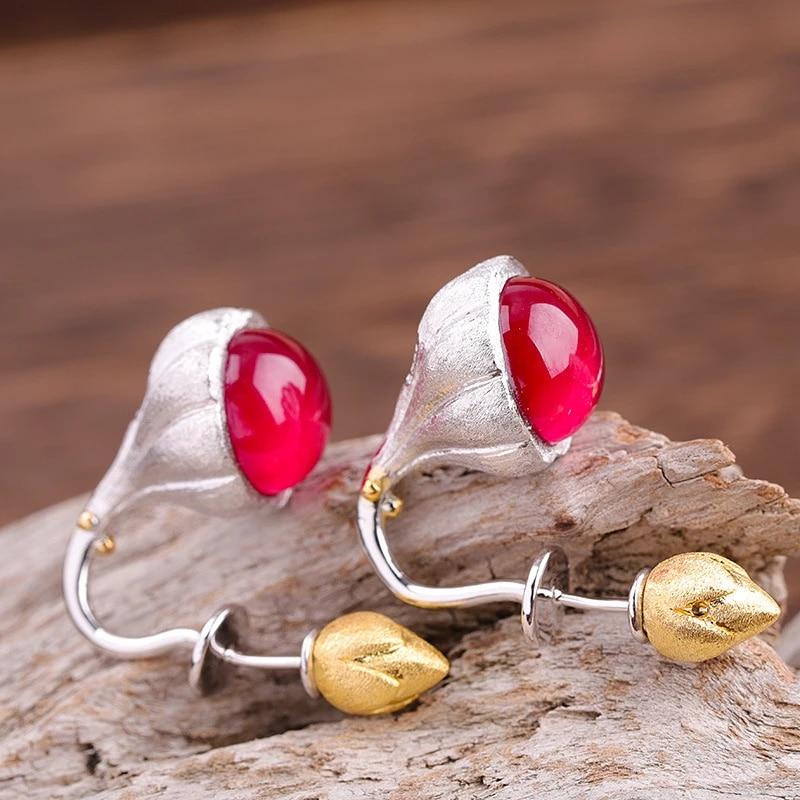 Ruby Corundum Gemstone 18k Gold Plated 925 Silver Dangle Earrings Jewelry