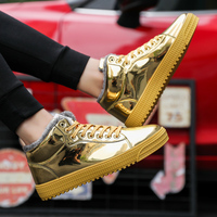 Men Shoes Patent Leather Sneakers High Tops Gold Silver Hip Hop Boots Plush Warm Winter Shoes Designer Shoes Flats Size 47