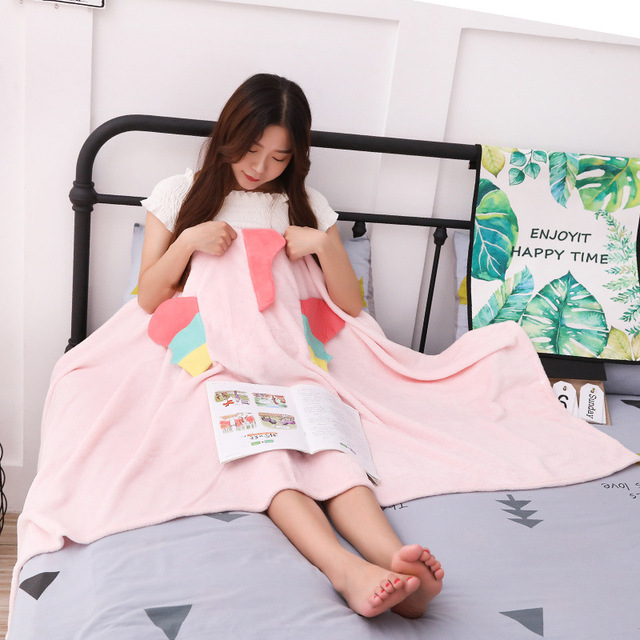 Unicorn Fleece Blanket Hooded Blanket Bed Sofa TV Throw Blankets Cartoon Hoodie Blanket Sweatshirt Christmas Gift for Children 2