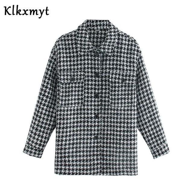 Klkxmyt-veste en Tweed pied-de-poule pour femme, manteau en Tweed à la mode, Vintage, manches longues, poches, hauts chics, 2020 2