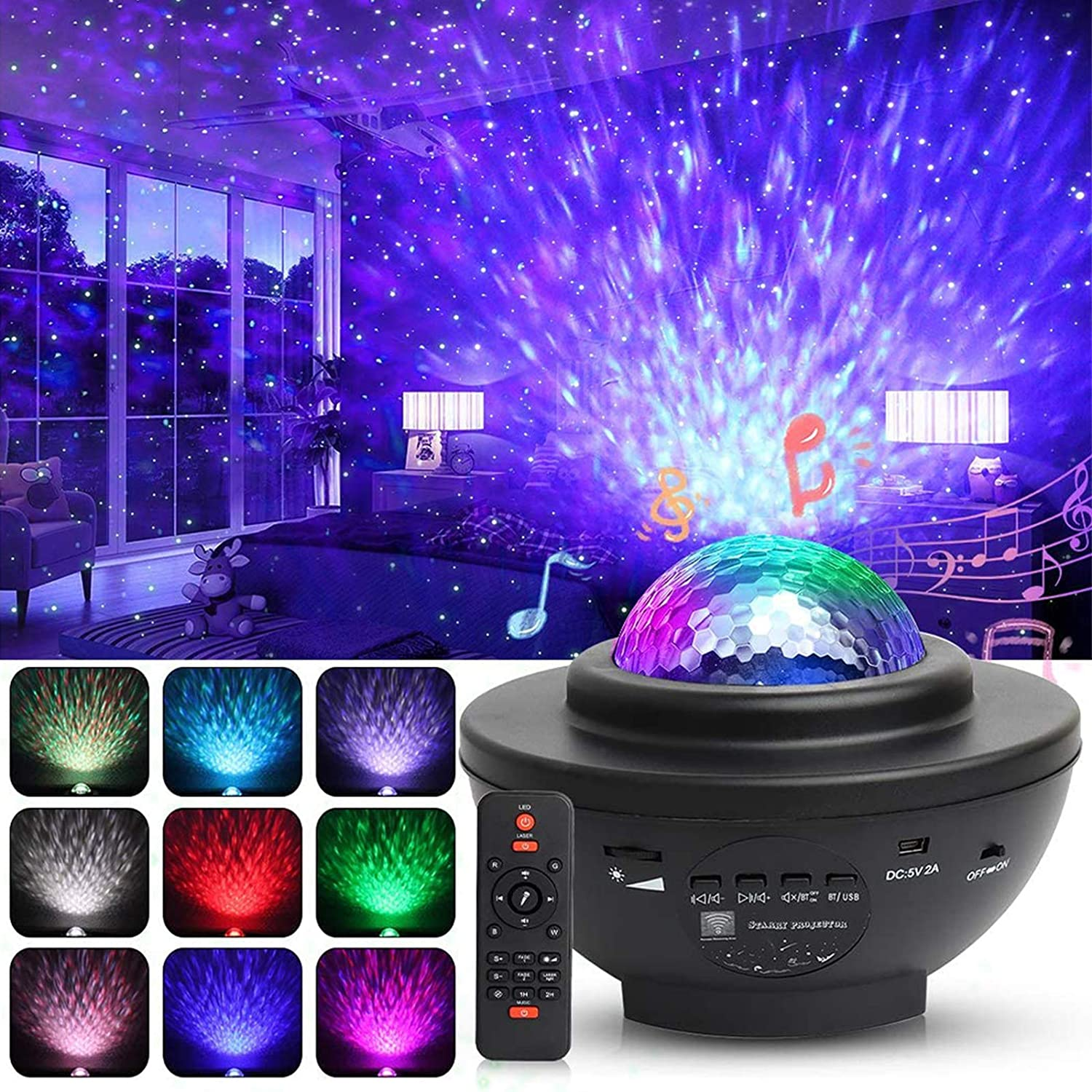 Ocean Wave Projector Star Night Light,Color Changing Music Player Sleep Night Lamp for Kids Adults Nursery Bedroom Living Room