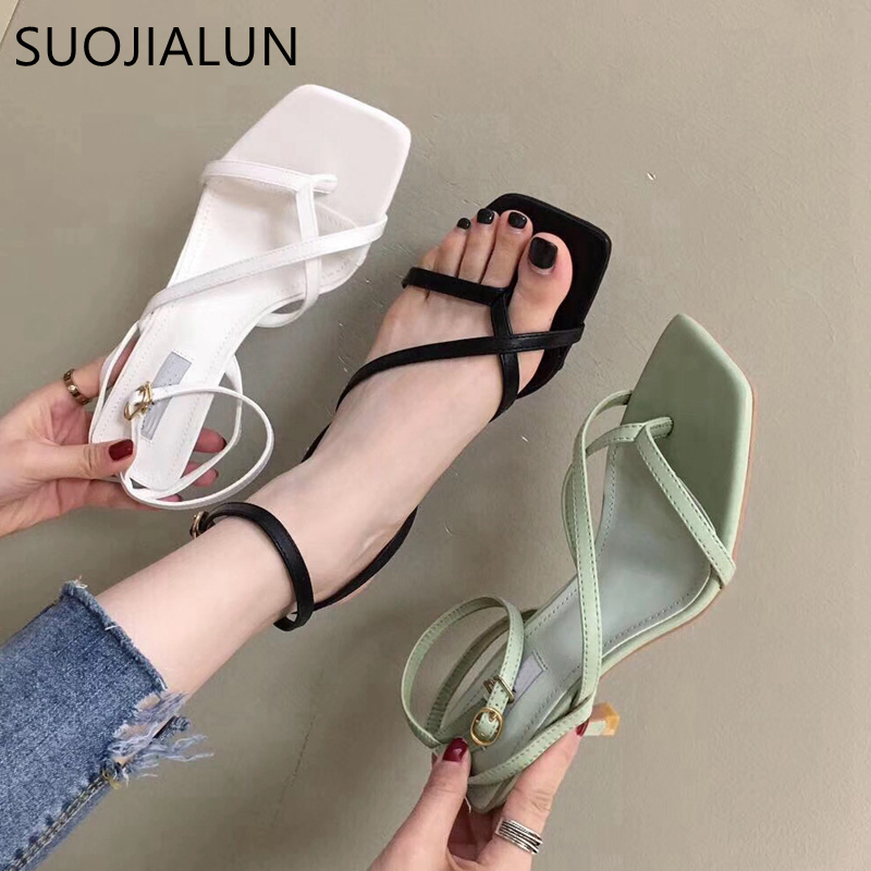 SUOJIALUN 2020 Ankle Strap Heels Women Sandals High Quality Narrow Band Ladies Gladiator Pump Shoes Thin High Heel Dress Shoes