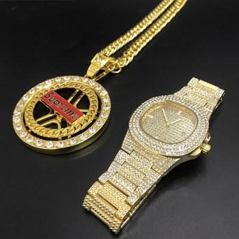 ɫ�級メンズゴールドダイヤモンドの腕時計ヒップホップ男性キューバネックレスメンズ腕時計 & Ã�ックレスコンボセットアイスアウトキューバゴールドのための男性