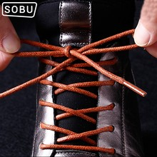 Men Women Leather Shoelaces Round Waxed Casual Shoes lace Rope Fine England Brown Cotton and linen shoes lace(China)