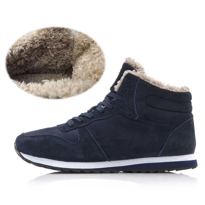 Erkek botları yarım çizmeler erkekler kış botları moda kar botları erkek kış Sneakers kar ayakkabıları artı boyutu 46 erkek kışlık botlar ayakkabı