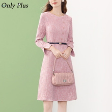 Casual Sashes Straight Pink Dresses For Women 2021 Romantic Evening Party Dress Button