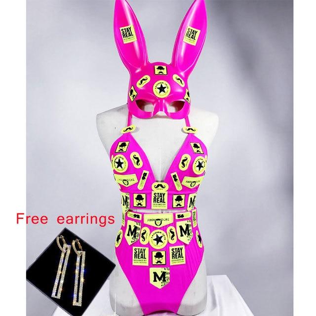 Fluorescent bikini Sexy Bra Shorts Set Headwear Nightclub Bar DJ Lady Singer Costume Dance Team Performance Stage Wear