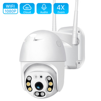 2MP Wifi PTZ IP Camera Outdoor HD 1080P 4X Zoom Two-Way Audio Wifi IP Camera Auto Tracking Color IR Night Vision CCTV Camera