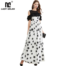 Women's Evening Party Prom O Neck Sexy Off the Shoulder Ruffles Printed Color Block Elegant Long Designer Dresses off the shoulder color block blouse