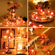 LED Artificial Flowers Maple Leaves String Light Garland Plants Wreath Dried for Home Decorations