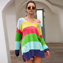 ZOGAA Oversize Rainbow Womens Knitted Sweaters Casual Plus Size Multicolor Autumn Winter 2019 Pullover Striped Female Jumper