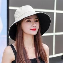 Sun Hat Summer Foldable Bucket Hat for women  Outdoor Sunscreen Cotton Fishing Hunting Cap Anti-UV  wide brim bucket  Sun hat