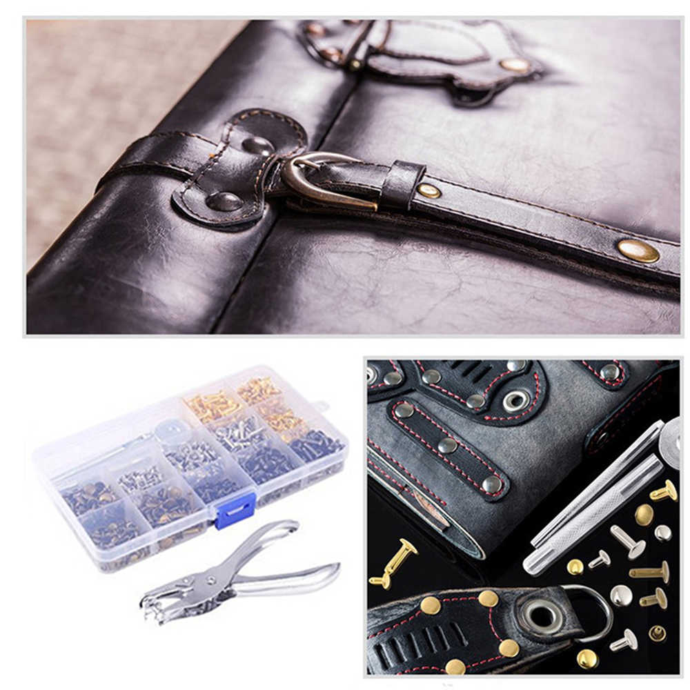 360PCS Leather Rivets Double Cap Rivet Tubular Metal Studs Setting Tool Kit US
