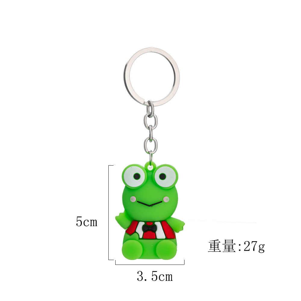 2019 lindo dibujo rana verde llavero colgante forma de animal llavero de silicona mochila accesorios regalo de vacaciones