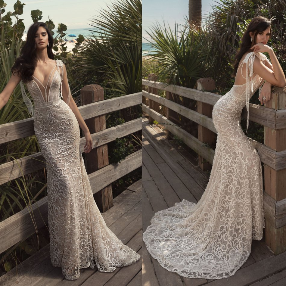 2020 Elegant Mermaid Wedding Dresses Sheer Deep V Neck Lace Appliqued Beading Backless Bridal Gowns Sexy Lace Wedding Dress