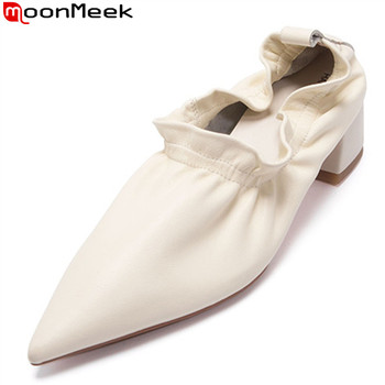 MoonMeek New arrival 2020 fashion office shoes genuine leather solid color laidies shoes spring summer pointed toe women pumps