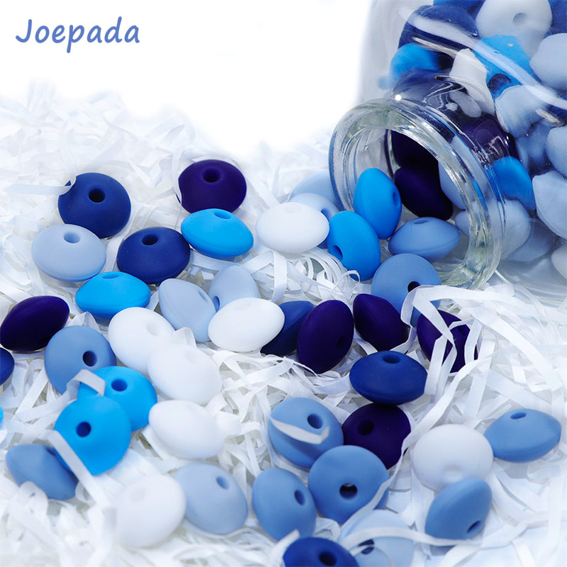 Joepada 50Pcs 12MM Lentil Silicone Beads BPA Free Diy Teether Teething Necklace Jewelry Bead Baby Teether Baby Pacifier Chain