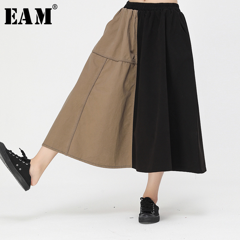 [EAM] High Elastic Waist Pocket Khaki Split Joint Temperament Half-body Skirt Women Fashion Tide New Spring Autumn 2020 1D942