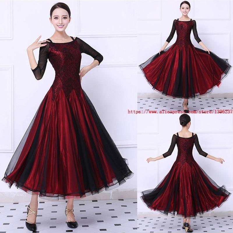 Plesna obleka za plesni ples Ženske rdeče tango Flamenco valček plesno krilo Ženske elegantne čipke Obleke za plesne ples