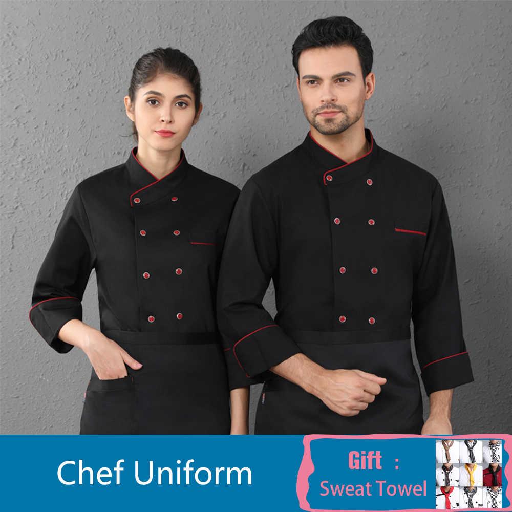 Z długim rękawem szef kuchni jednolite Unisex restauracja kuchnia gotowanie kurtka Cafe fryzjerzy Salon sprzęt do grillowania piekarnia kelner praca koszula
