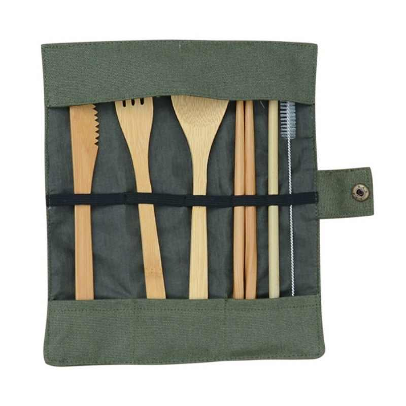 Reusable Bamboo Cutlery Set Portable Tableware Wooden Cutlery Fork Spoon Knife Set with Cutlery Bag for Travel Utensil Set
